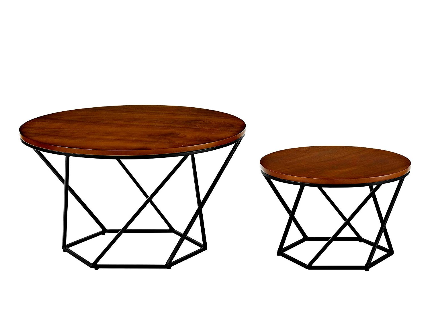 Nesting tables set of 2 end tables round with metal frame in black finish and brown wooden table top small big circular classic elegant design home