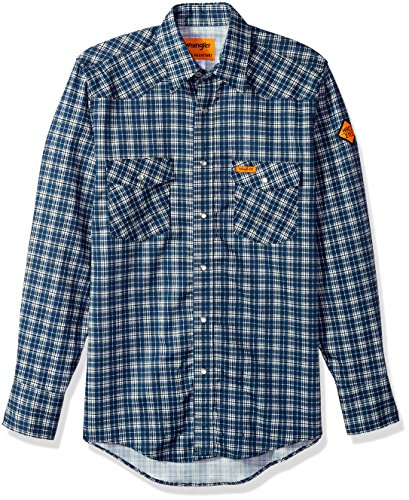 Wrangler Men's Flame Resistant Western Two Pocket Snap Shirt, Navy Plaid, - Twill Blue Shirt Wrangler