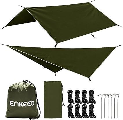 Enkeeo Portable Camping Fishing Tarp Waterproof Rain Fly Hammock Polyester