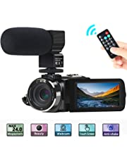 """Video Camera, ACTITOP Camera Camcorder FHD 1080P 24MP IR Night Vision 3"""" LCD Touch Screen Camcorder With External Microphone and Remote Control"""