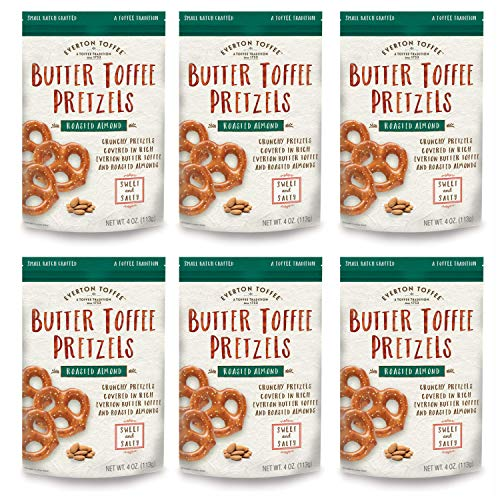 Everton Toffee Butter Toffee Pretzels, Roasted Almond Flavor (4 oz. bag, 6-pack), Gourmet Artisan Toffee Covered Pretzels, Sweet and Salty Mini Pretzel Snacks, Small Batch Crafted (Pretzel Toffee)