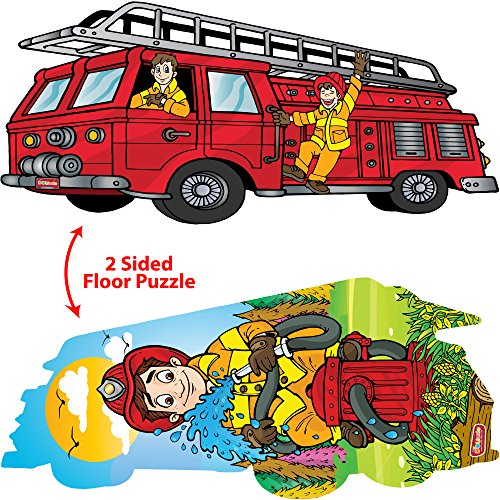 DOUzzle Jumbo Firetruck & Firefighter, 2 Sided Jigsaw Floor Puzzles, for Toddlers and Kids Ages 3-5 Years Old (24 extra large pcs, 3 feet)