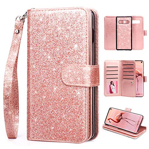 S10 Case,Galaxy S10 Case,HIDAHE S10 Wallet Case for Women,Samsung Galaxy S10 Case with Card Holder with Kickstand Premium PU Leather Protective Purse Cover for Samsung Galaxy S10 2019 (6.1inch),Pink