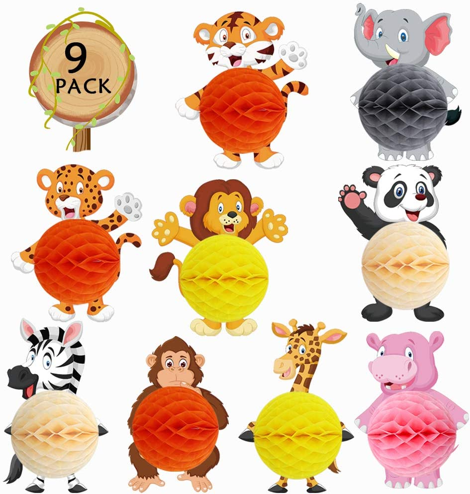 Wild Jungle Animals Honeycomb Ball Centerpieces Safari Animals Decor for Baby Shower Kids Jungle Theme Party Supplies