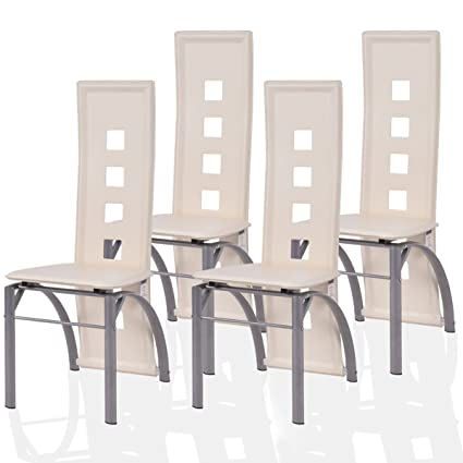 Giantex 4 Pcs Dining Chairs PU Leather Steel Frame High Back Contemporary  Home Furniture (White