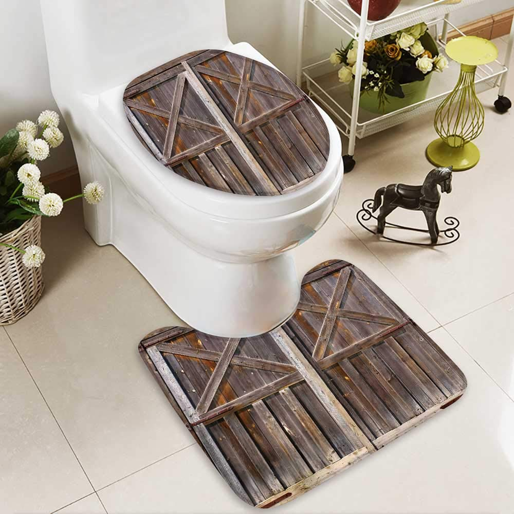 HuaWuhome 2 Piece Toilet lid Cover mat Set Rustic Old Wooden Barn of Farmhouse Oak Countryside Village BoardRural Life Photo Customized Rug Set