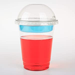 GOLDEN APPLE, 12oz-30sets Clear Cups with 2oz Insert & Dome lids No hole, Dessert Cup