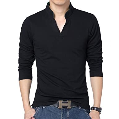 LionRoar Men s Mandarin Chinese Collar Polo Neck T-Shirt for Men ... a09b73c0ea55