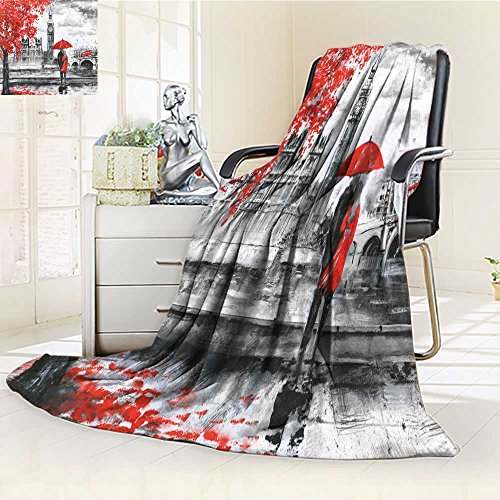 Luxury Collection Ultra Soft Plush Fleece Lightweight Oil Painting on Canvas Street View of London River and Bus on Bridge Artwork bi All-Season Throw/Bed Blanket(90