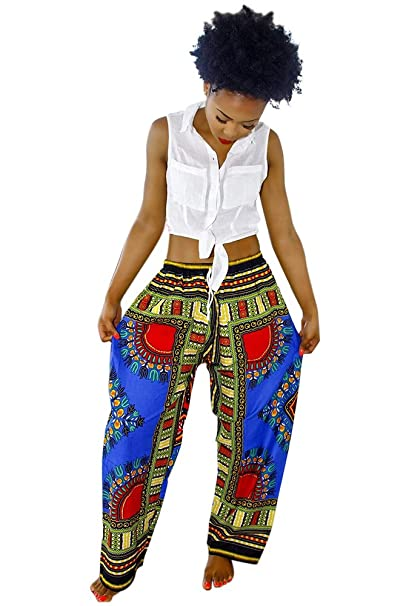 1a7bf282a50 Womens Dashiki Drawstring Waist Trousers Bohemian Wide leg Lounge Pants  Blue S