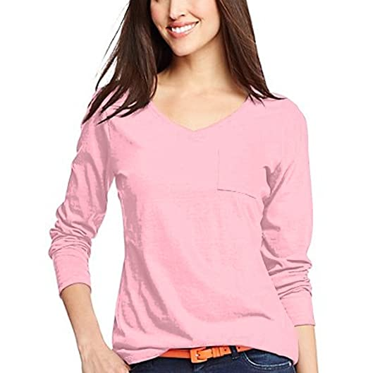 dbacc43e Hanes Women's V-Neck Long Sleeve Pocket T Shirt Small (Pink Swish) at  Amazon Women's Clothing store: