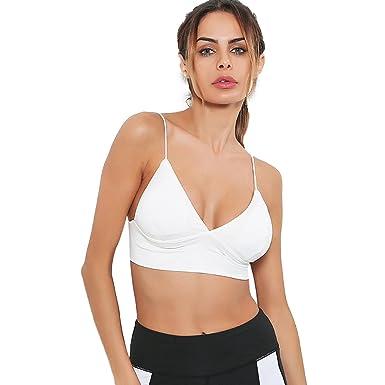 0a794cab86 gagaopt Women Sexy Everyday Basic Deep V-Neck Plunge Padded Bra Cami  Bralette Top