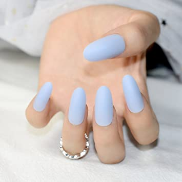 Amazon.com : 24Pcs Matte Sky Blue False Nails Kit Lady Daily Wear Fake Nail Tips Round Top Matte Oval Artificial Nails Nep Nagels Z795 : Beauty