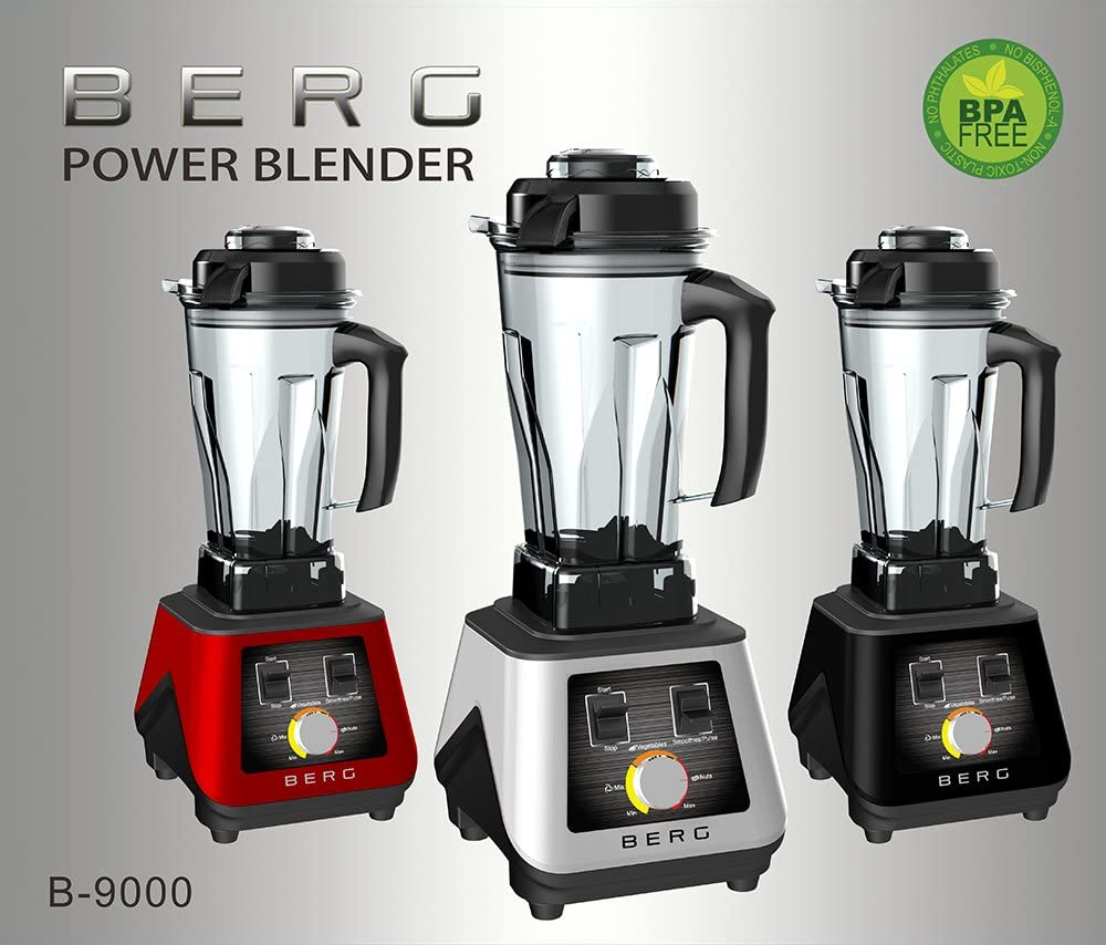 BERG 1500W 2HP Commercial Pro Specialist Health Nutrition Blender/Smoothie Maker/Soup Maker - Red Red