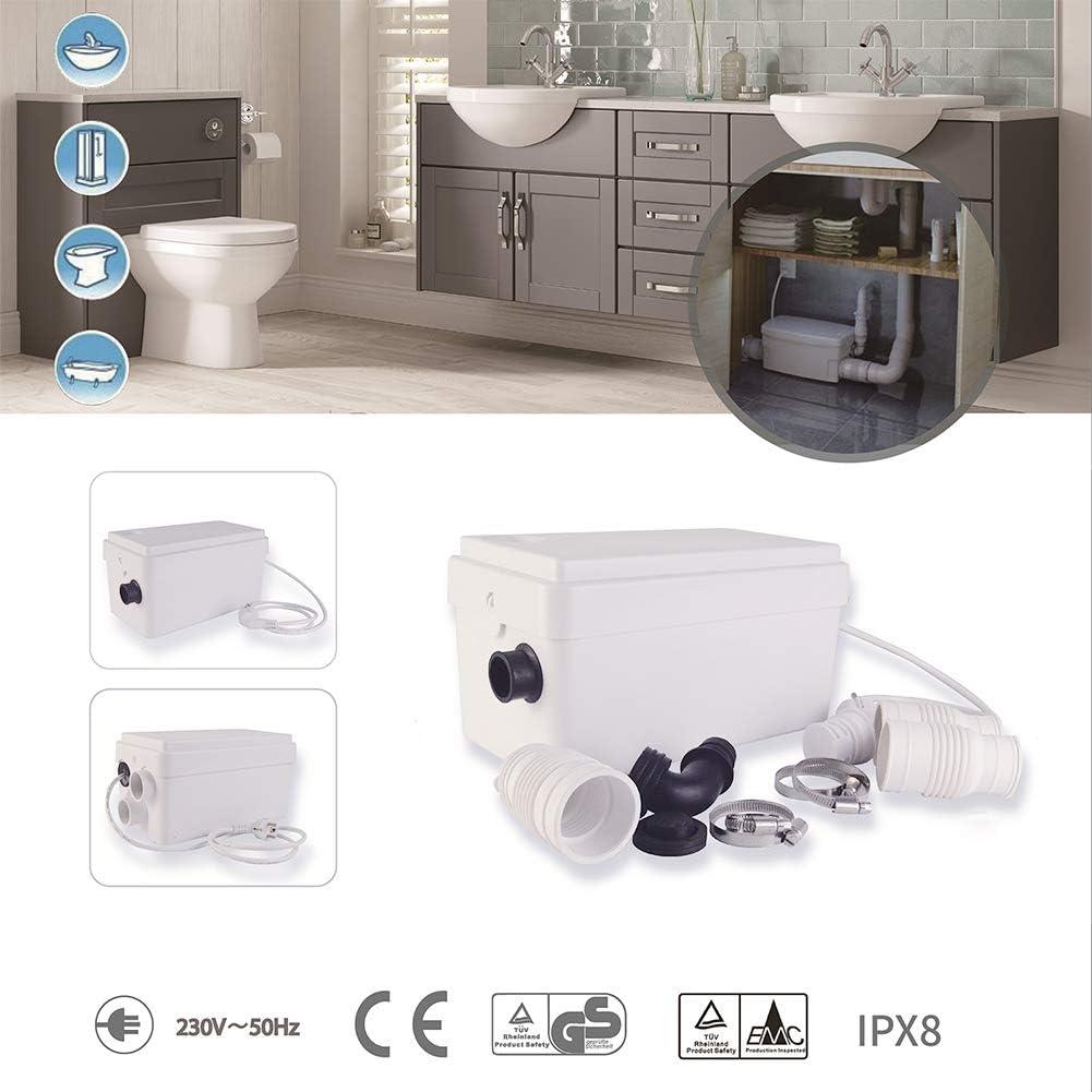 Sanitary Macerator Tiolet Waste Water Pump 2 Inlets Sink Shower Bath Tub 250W