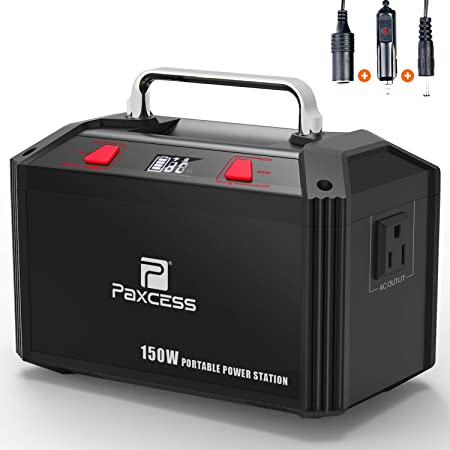 PAXCESS Generator Portable Power Station-[150W Upgraded]-Lithium Battery  Pack Supply with 110V AC Outlet, 3 DC 12V Ports, 2 USB Port, Solar Electric
