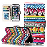 for iPhone 8 Case Cover, for iPhone 7 Case, CrazyLemon Luxury PU Leather Embossing Shiny Pattern Magnetic Wallet Flip Open Pocket ID Credit Card Slots Holders Shock-Absorbing Anti-Scratch Protective Flip Stand Case for iPhone 8 / iPhone 7 4.7 inch - Tribal Pattern