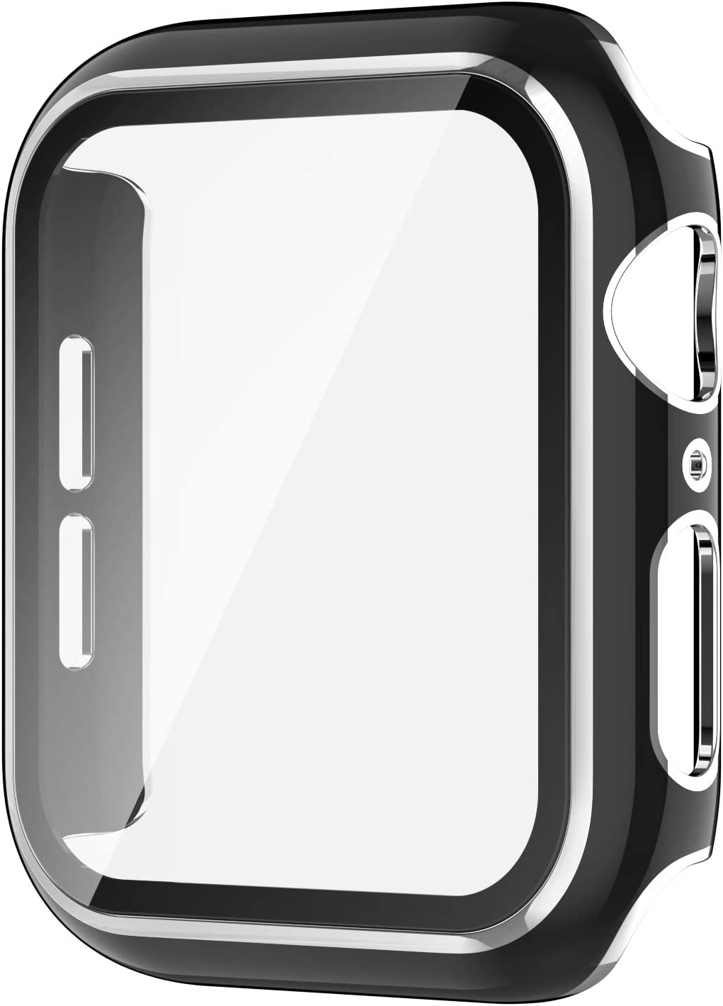 AVIDDA Case Compatible Apple Watch 42mm Built-in Tempered Glass Screen Protector, Silver Edge Black Bumper Full Coverage HD Clear Protective Film Cover for Women Men iWatch 42mm Series 3/2/1