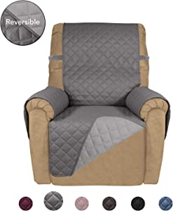 PureFit Reversible Quilted Recliner Sofa Cover, Water Resistant Slipcover Furniture Protector, Washable Couch Cover with Elastic Straps for Kids, Dogs, Pets (Recliner, Gray/LightGray)