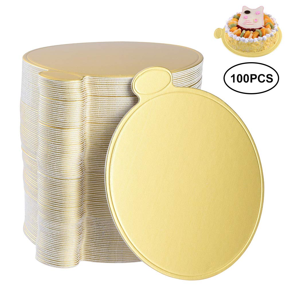 Uarter Round Cake Base Disposable Paper Coasters Practical Cupcake Board Portable Serve Bases for Cupcake, Mousse and Cup, 3.1'' Diameter, Set of 100, Golden
