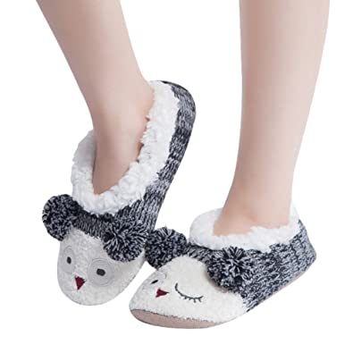 MaaMgic Womens Fuzzy Christmas Animal House Slippers Ladies Cute Bedroom  Indoor Knit Winter Slippers. Amazon com   MaaMgic Womens Fuzzy Christmas Animal House Slippers