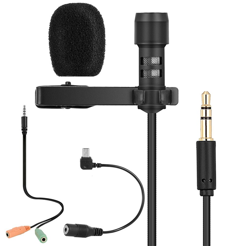 Docooler Lavalier Lapel Microphone Clip-on Omnidirectional Mic Condenser Microphone Audio Recorder Youtube/Interview/Podcast/Recording/Video Conference for iPhone Smartphones PC Cameras