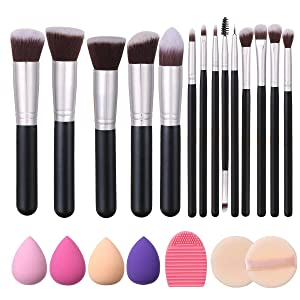 Akstore Makeup Brushes 14 Pcs Makeup Brush Set Travel makeup brush set with 4 Makeup Sponge Blender 2 Makeup Foundation Sponge Air Cushion Powder Puff 1 silicone brush cleaner (Silver)