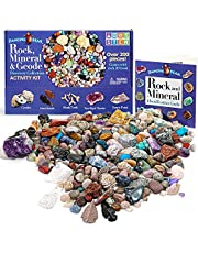 Dancing Bear's Rocks and Minerals Rock & Mineral Collection Kit met 2 Easy Pause Geodes Activity Kit