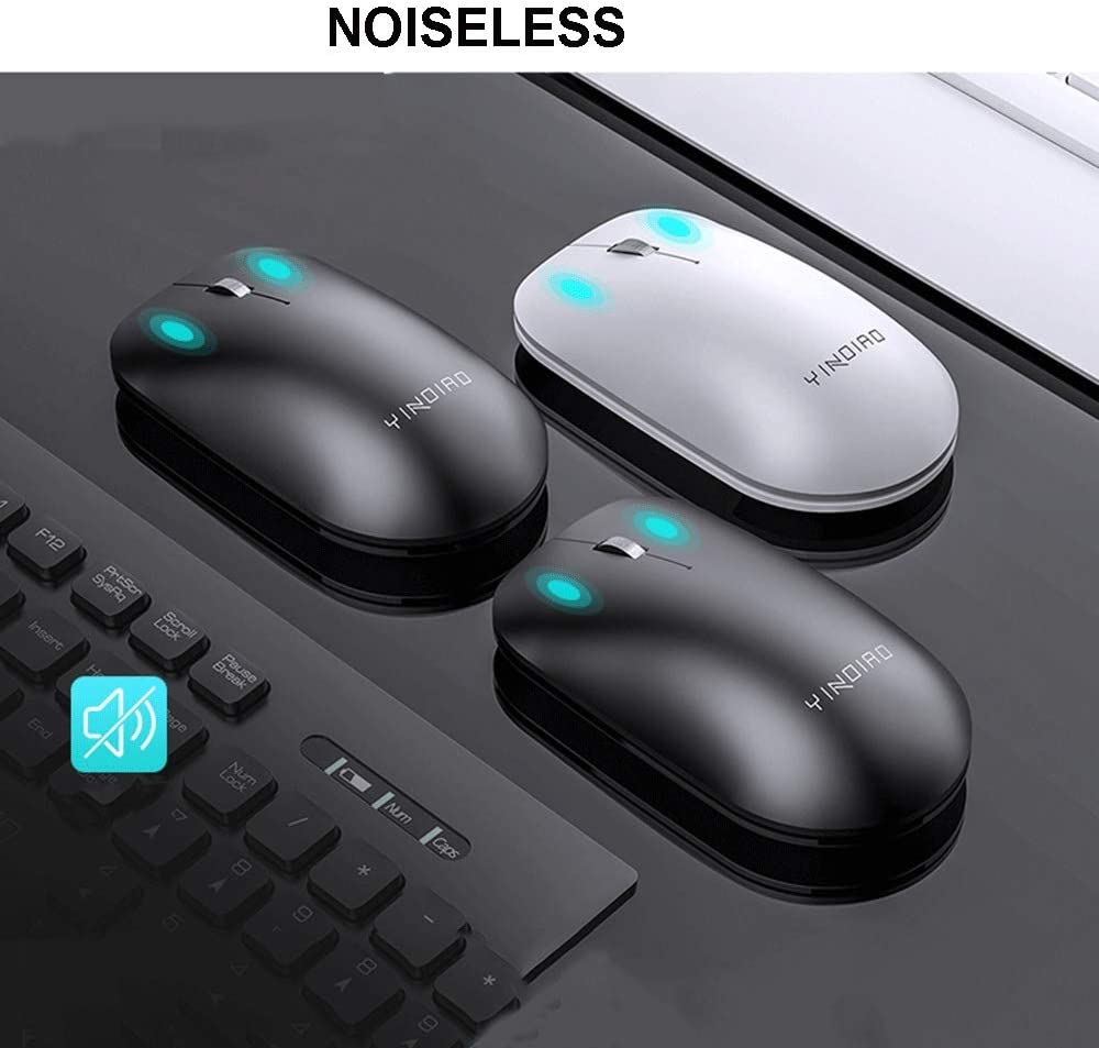 1600DPI Noiseless Cordless Mouse for PC Desktop Laptop Ultra-Thin Mute Keyboard with Palm Rest Guanwen Wireless Keyboard and Mouse Combo Color : Black