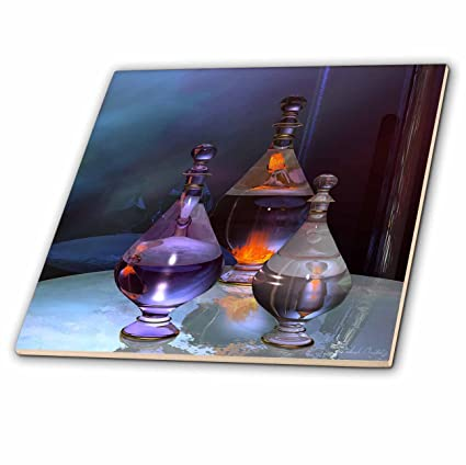 Tres Alien SciFi Botellas de cristal Azulejos o Cristal Shining en tonos de naranja, morado
