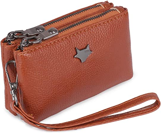 imeetu Women Coin Purse Mini Pouch Leather Wallet with Keychain Red
