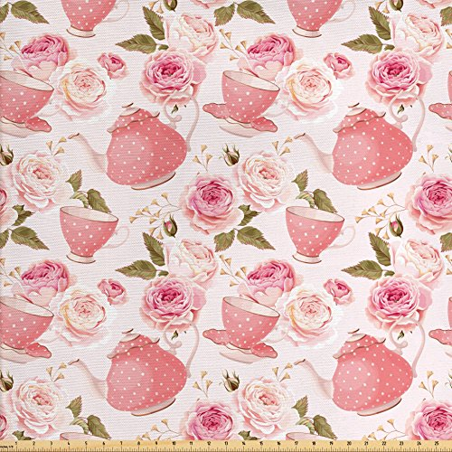 Rose Upholstery Fabric - Ambesonne Floral Fabric by the Yard, Vintage Tea Cups with Roses Romantic Shabby Chic Elegance Design, Decorative Fabric for Upholstery and Home Accents, Light Pink Coral Fern Green