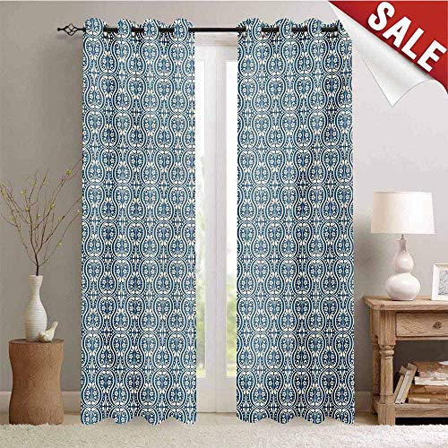 - Hengshu Damask Waterproof Window Curtain Symmetrical Ancient Flowers and Curls Wavy Lines Old Ornamental Curves Tile Room Darkening Wide Curtains W72 x L108 Inch Slate Blue Ivory