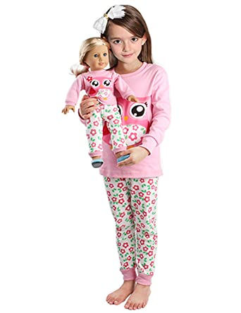 Amazon.com: Girls Matching Doll&toddler Owl 4 Piece long cotton ...