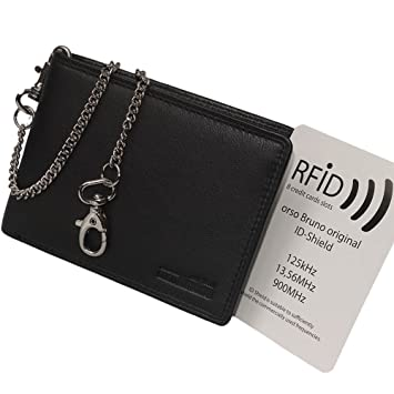 493761c9c31ad Schwarze RFID NFC Herren Geldbörse mit Kette - Geldbeutel RFID Scheintasche  Brieftasche Bikerbörse mit Kette Kettenbörse