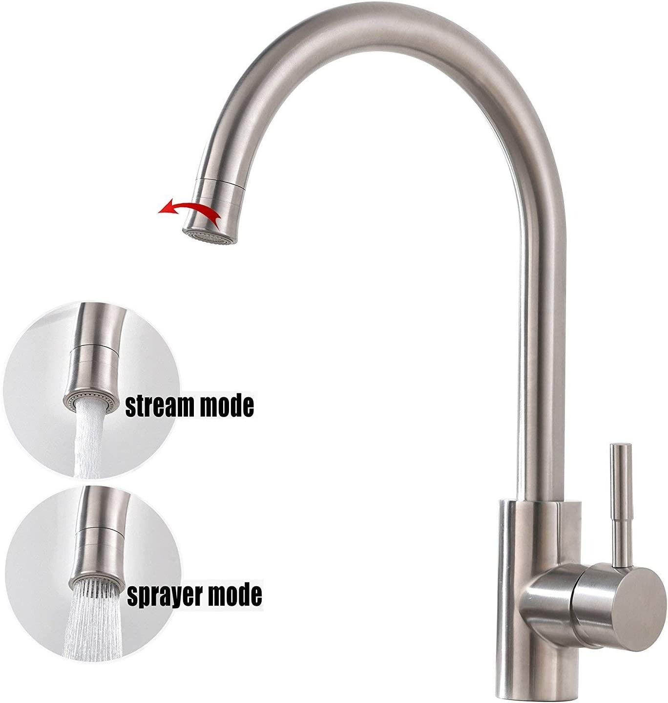 Bokaiya Kitchen Faucet, Commercial Gooseneck Stainless Steel Brushed Nickel One Hole Kitchen Faucet, Kitchen Bar Sink Faucet
