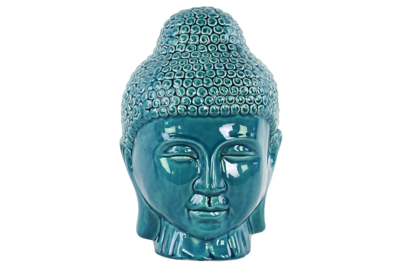 Urban Trends Ceramic Buddha Head with Rounded Ushnisha Gloss Finish Turquoise, Turquoise by Urban Trends