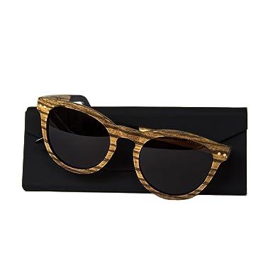WOLA lunette de soleil en bois SELVA lunettes style rondes femmes UV 400 polarisé Marron 1hqfE6V