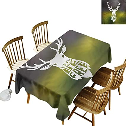 Amazon Com Custom Tablecloth Hunting Deer Head Art Party