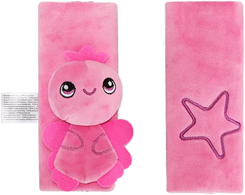 Double Sided Cartoon Animal Soft Infant Seat Belt Shoudler Pads for Baby Pink Angel Baby Car Seat Belt Strap Covers