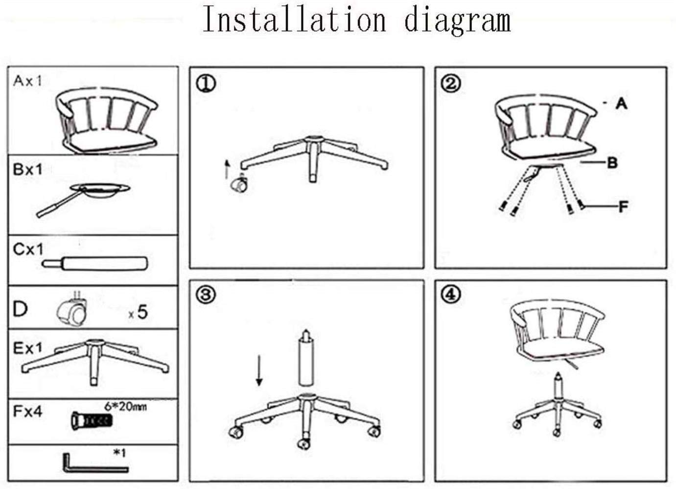Barstolar Xiuyun kontorsstol spelstol svängbar stol, massivt trä ihåligt armstöd datorstol studier lärande stol enkel lyftstol - 360 graders rotation, 2 färger (färg: A) a
