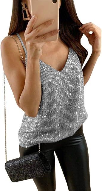 Qianshan Maomo Womens Sequin Tops Summer Sexy V Neck Spaghetti Strap Tank Tops Sleeveless Casual Plain Cami Shirts At Amazon Women S Clothing Store