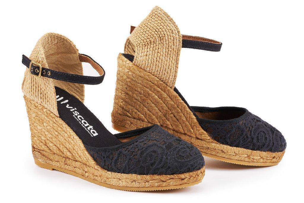VISCATA Satuna Espadrille mit Beinstreckendem 7,5 cm Absatz, Handgefertigt in Spanien  35 M EU / 25 M UK|Crochet Black