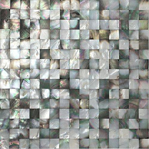 (Vogue Tile Mother of Pearl Backsplash Wall Tile Serene Deep Sea Black 11.75