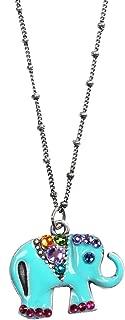 "product image for Anne Koplik Women's Crystal Elephant Pendant Necklace, Aqua Blue Enameled - 1"""