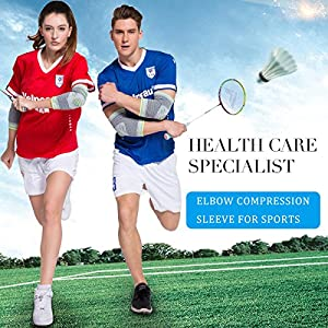 Elbow Brace Compression Sleeve with Gel Pads Support for Tendonitis, Tennis Elbow & Golf Elbow Treatment, Arthritis, Reduce Joint Pain During ANY Activity for Women & Men by Velpeau (Large)