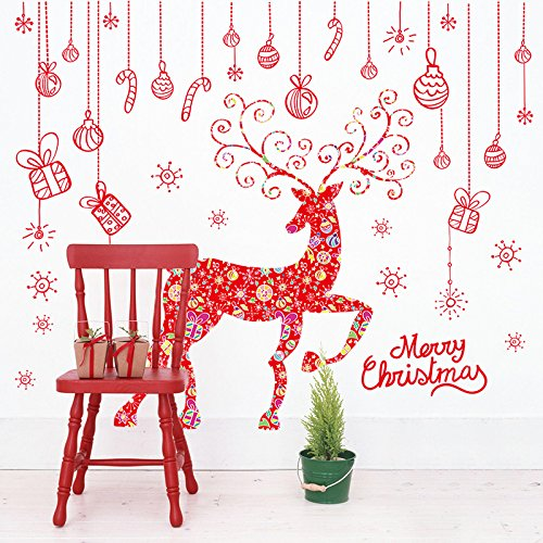 WDA Merry Christmas Wall Decals Candy Strips+ Xmas Deer Elk Stickers Kit PVC Romovable Wall Stickers Home Christmas Decoration