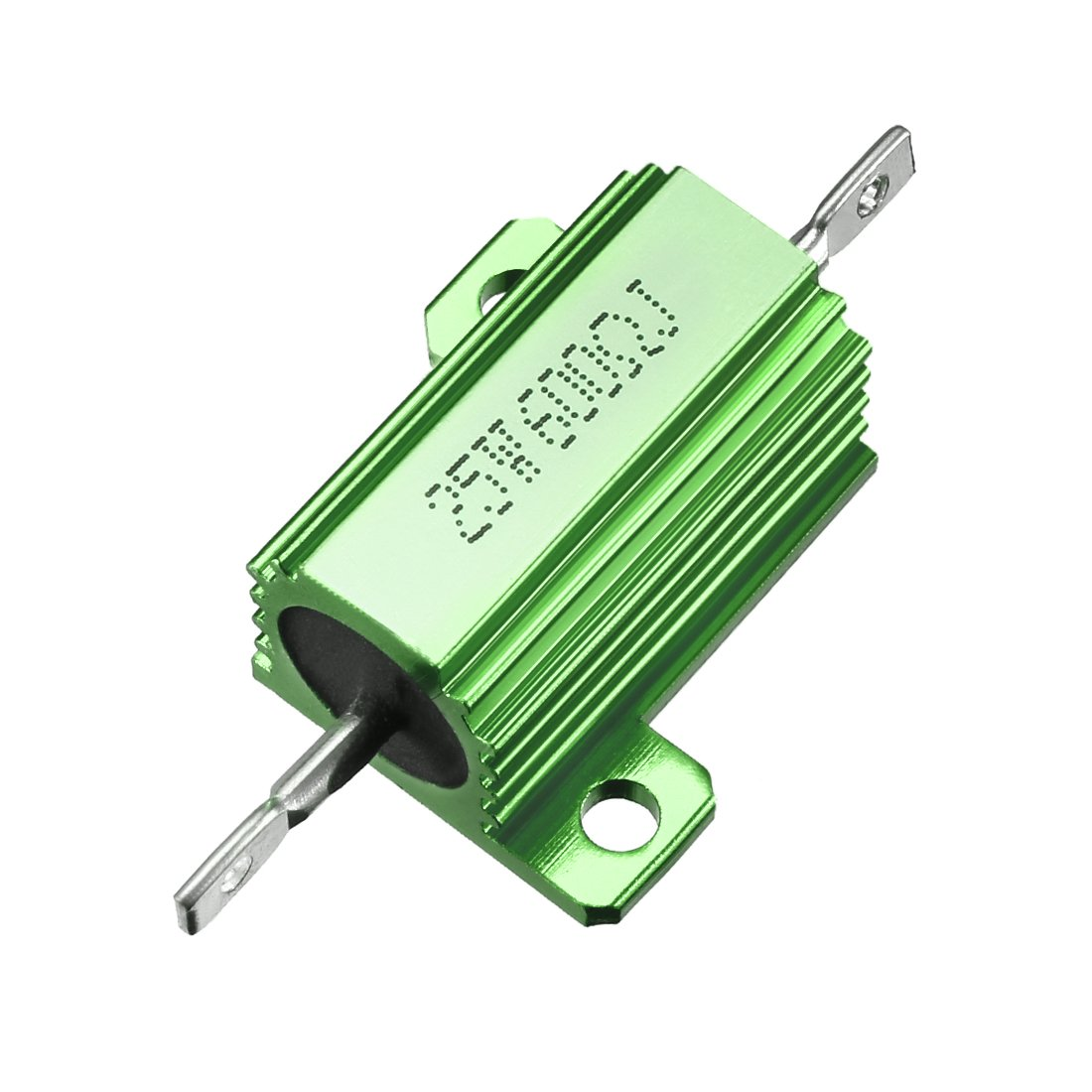 sourcing map 25W 600 Ohm 5% Aluminum Housing Resistor Screw Tap Chassis Mounted Aluminum Case Wirewound Resistor Load Resistors Green 1 pcs