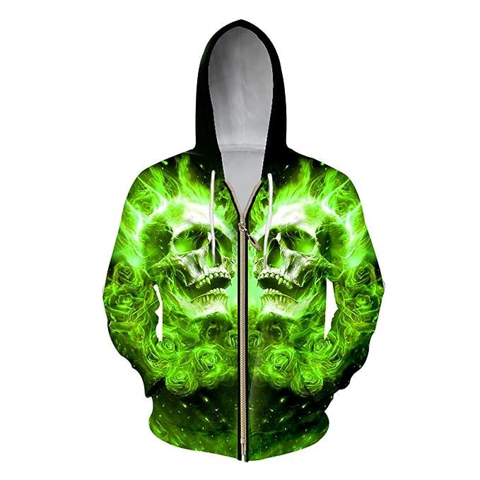 XLMSES Sudaderas con Cremallera Hombres 3D Fresco Verde Impresión Flame Skull Sudaderas Hombre Hip Hop Punk Streetwear Chaquetas con Capucha: Amazon.es: ...