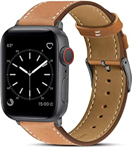 Marge Plus Compatible with Apple Watch Band 42mm 44mm, Genuine Leather Replacement Band Compatible with Apple Watch SE Series 6 5 4 (44mm) Series 3 2 1 (42mm), Brown Band/Space Gray Adapter